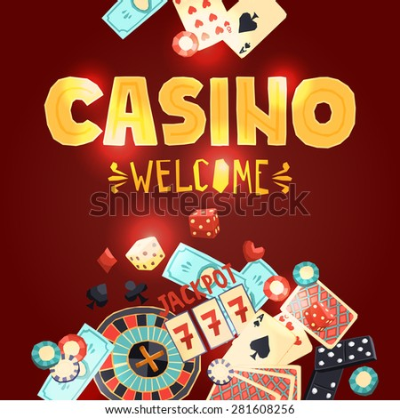 Casino gambling poster with poker cards dice roulette domino chips slot machine vector illustration - stock vector
