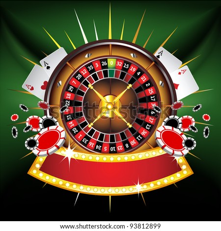 Casino gold-framed composition with roulette wheel on green background - stock vector