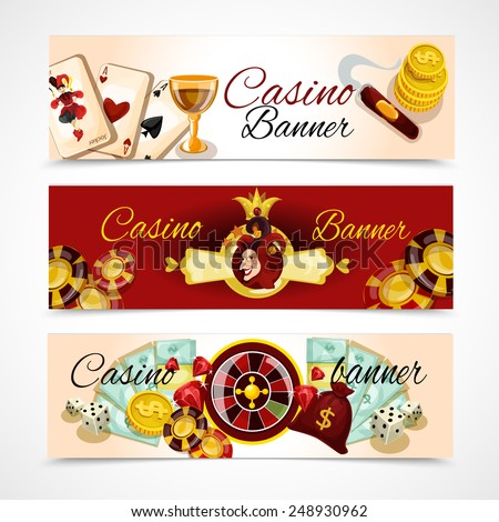 Casino horizontal banner set with roulette dice blackjack poker elements isolated vector illustration - stock vector