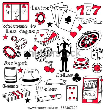Casino icon set hand drawn. Doodle big collection game icons and casino icons vector. Sketch objects black and white