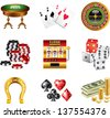 casino icons detailed vector set - stock photo