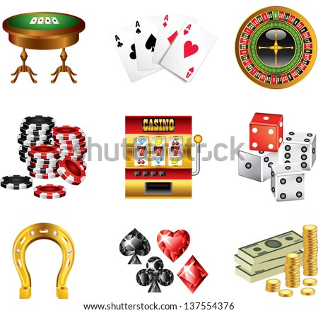 casino icons detailed vector set - stock vector