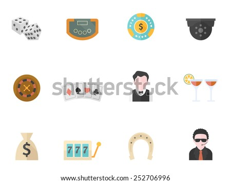 Casino icons in flat colors style. - stock vector