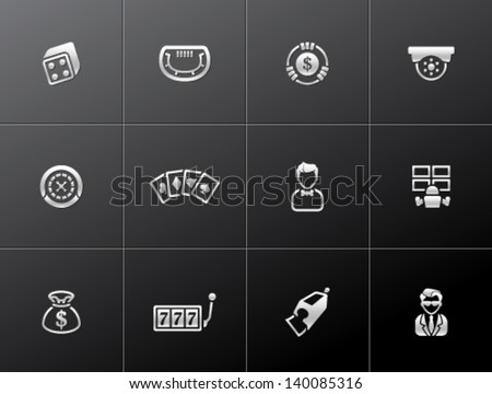 Casino icons in metallic style - stock vector