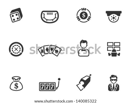 Casino icons in single color - stock vector