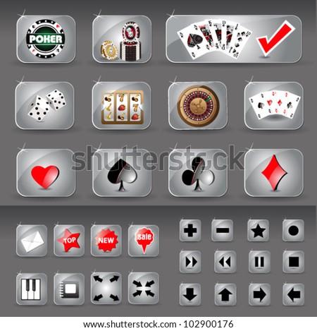 casino  icons web - stock vector