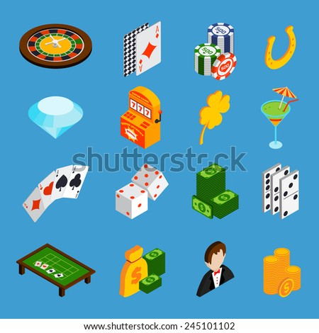 Casino isometric icons set with roulette cards dice money isolated vector illustration - stock vector
