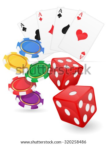 casino items cards ace and chips dice vector illustration isolated on white background - stock vector