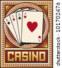 casino label design (four aces) - stock photo