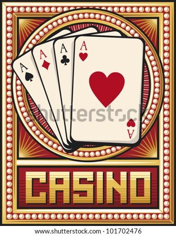 casino label design (four aces) - stock vector