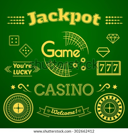 Casino logo and label set, typography design, game roulette vector illustration on green background - stock vector