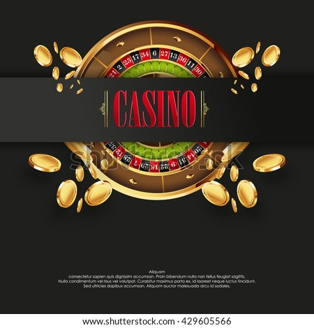 Casino logo poster background or flyer. Casino invitation or banner template with Roulette Wheel an Flying Golden Coins. Game design. Playing casino games. Vector illustration. - stock vector
