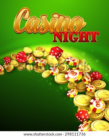 Casino night. Vector Illustration with roulette, coins EPS 10 - stock vector
