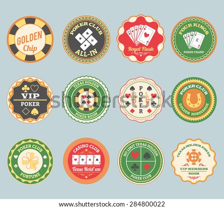 Casino online club traditional poker retro labels collection for members and international players  abstract isolated vector illustration - stock vector