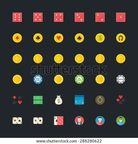 Casino or Poker flat icons - vector set of gambling symbols in flat design - stock vector
