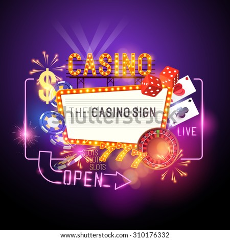 Casino Party Vector - Role the dice - Win big! Casino vector illustration design with poker, playing cards, slots and roulette. Glowing Casino sign. Layered illustration. - stock vector