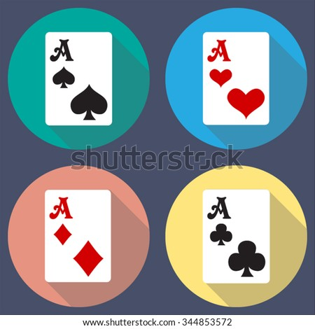 casino playing card  ace buttons with flat long shadow icons set for web and mobile applications