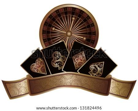 Casino poker elements, vector illustration - stock vector