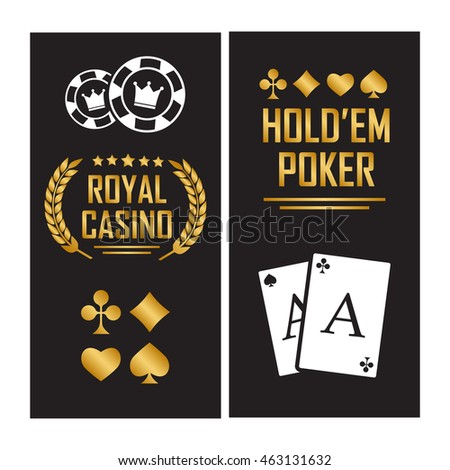 Casino poster with cards for poker play chips eps 10