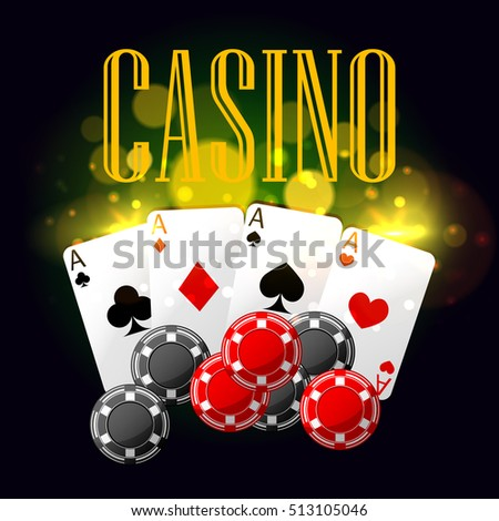 Casino poster with poker cards and chips. Vector design with golden light blurs for casino placard