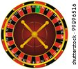 casino roulette colorful wheel, isolated on white - stock vector