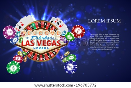Casino Roulette Playing Cards with Falling Chips. Vector illustration - stock vector