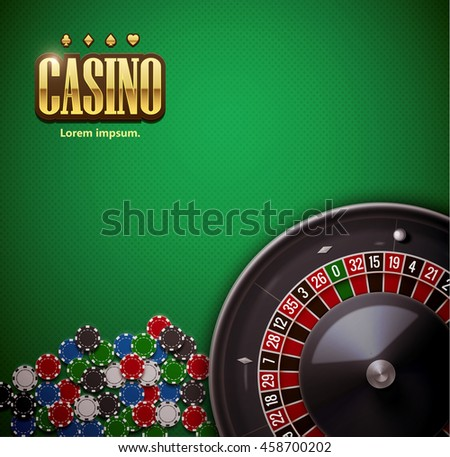 casino roulette wheel with casino chips isolated on green casino table realistic objects 3d with place for text eps 10 vector illustration