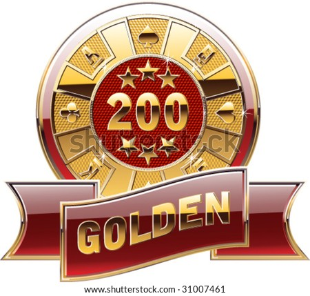 casino's decorative golden coin - stock vector