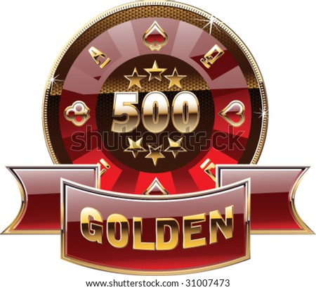 casino's decorative golden coin - stock vector