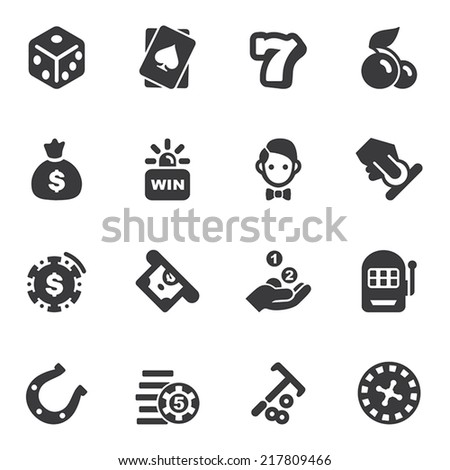 Casino Silhouette icons - stock vector