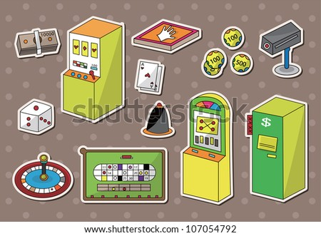 casino sitckers - stock vector
