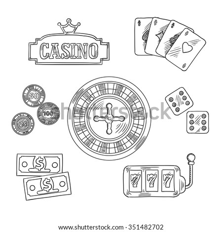 Casino sketched icons and symbols of roulette wheel, dice, playing cards, gambling chips, dollar bills, casino sign board with golden crown and slot machine with triple seven. Sketch style - stock vector