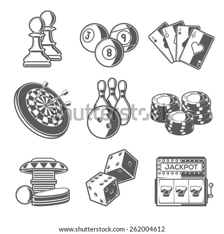 Casino Sport and Leisure Games Icons (Chess, Billiard, Poker, Darts, Bowling, Gambling Chips, Pinball, Dice and Slot Machine). Black Outline Style. Vector Illustration. - stock vector