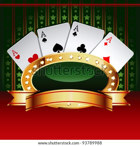 Casino vector banner with cards. - stock vector