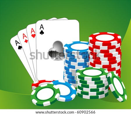 Casino vector illustration (blue, green, red chips) - stock vector