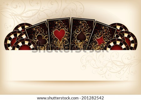 Casino wallpaper with poker elements, vector illustration - stock vector