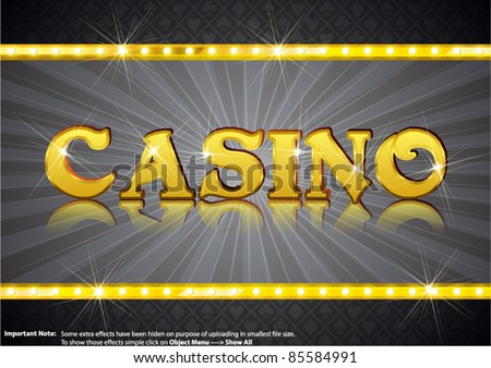 Casino Write in gold shining font - stock vector