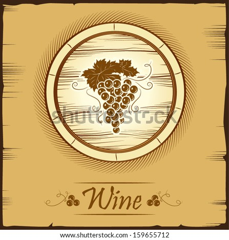 cask wine. barrel. Vintage label.  - stock vector