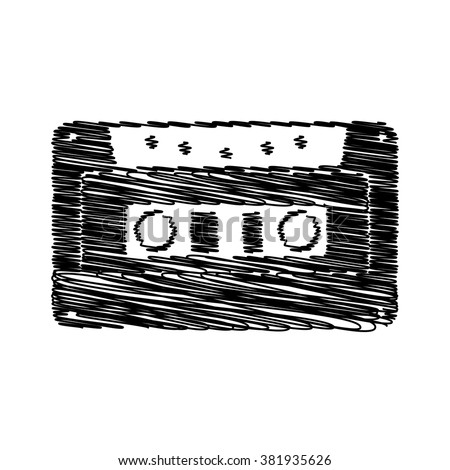 Cassette icon, audio tape sign. Icon with scribble effect - stock vector