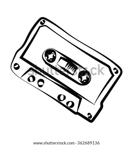 Cassette Sketchy Vector Icon - stock vector