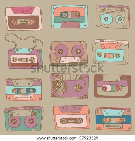 cassette vector pattern - stock vector