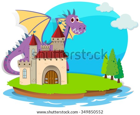 Castle and dragon on the island illustration - stock vector