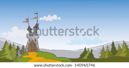 Castle background. Isolated layers. - stock vector