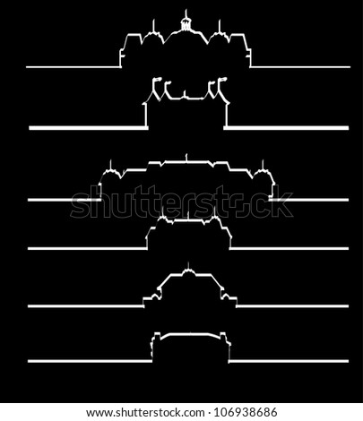 Castle collection silhouette - stock vector
