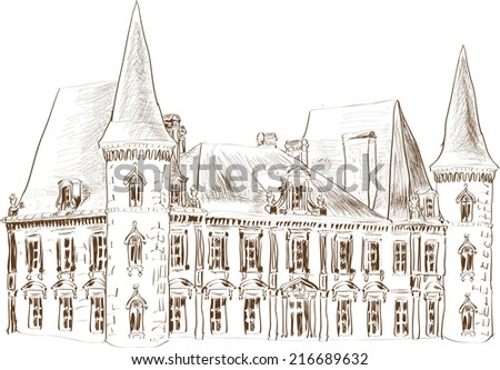 Castle hand drawn with graphic tablet - stock vector