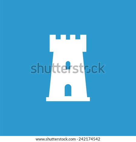 castle icon, isolated, white on the blue background. Exclusive Symbols  - stock vector