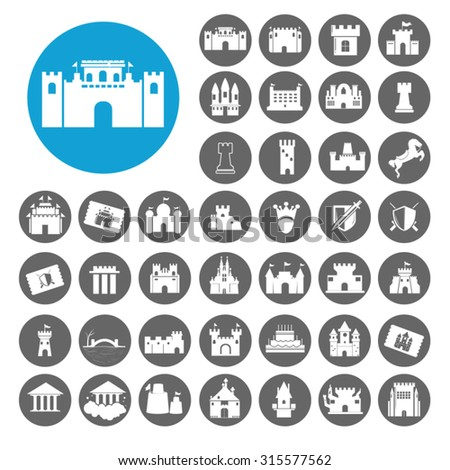Castle icons set. Illustration EPS10 - stock vector