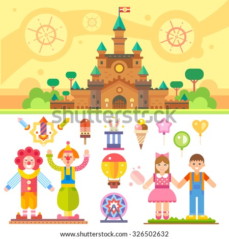 Castle of children happiness. Flat vector illustration set: magic castle, clowns, balloons, boy and girl, fireworks, carousel, rabbit in a hat, ice-cream. Stock Vector.  - stock vector