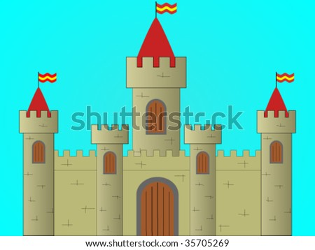 Castle on blue background - stock vector