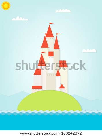 castle on the hill. cutout illustration - stock vector